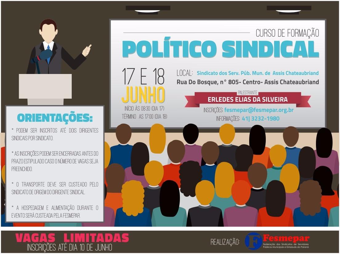 INSCRIÇÕES ENCERRADAS-  Curso de Formação Político Sindical