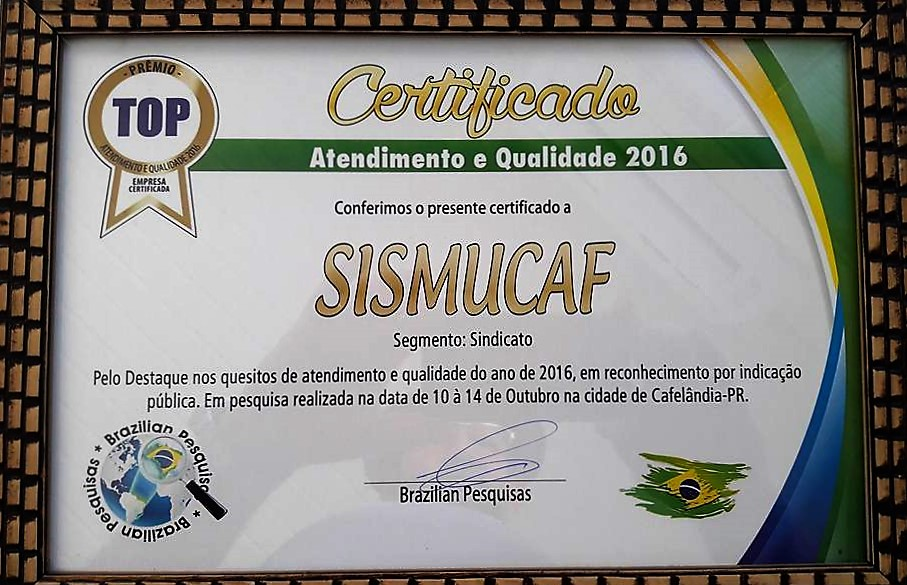 Sismucaf recebe Certificado de Atendimento de Qualidade-2016