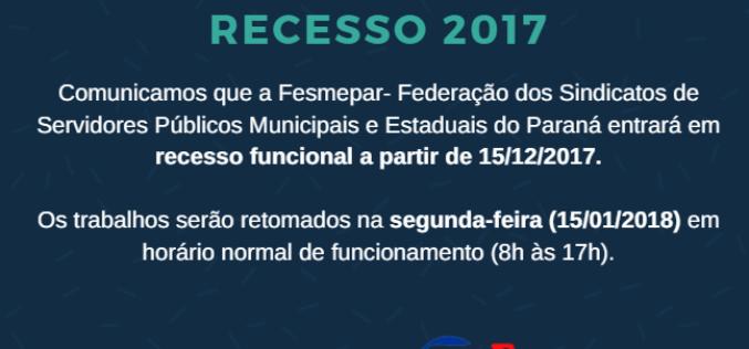 COMUNICADO – RECESSO 2017