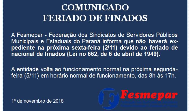 COMUNICADO – FERIADO DE 2 DE NOVEMBRO – FINADOS
