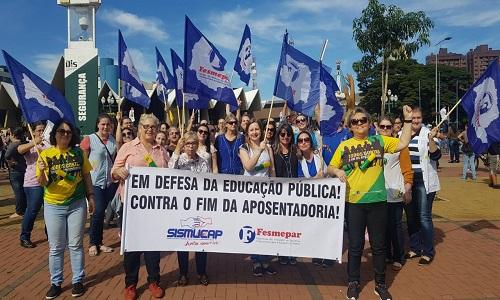 14 DE JUNHO : Fesmepar e sindicatos filiados marcam presença no manifesto nacional contra a Reforma da Previdência