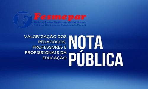 NOTA PÚBLICA: VALORIZAÇÃO DOS PEDAGOGOS, PROFESSORES E PROFISSIONAIS DA EDUCAÇÃO