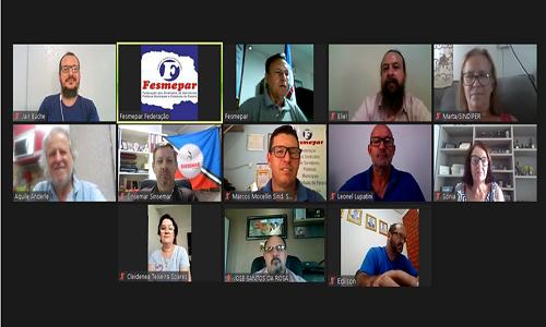 Fesmepar discute cenário político-sindical em videoconferência com sindicatos de servidores municipais